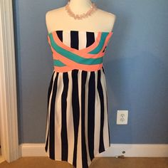 Strapless Summer Dress Adorable for summer - excellent condition! Stripes are navy and white - very flattering fit C. Luce Dresses Midi
