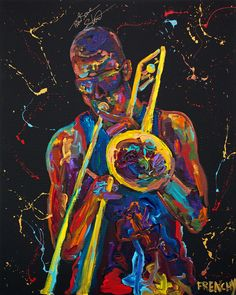 This painting was produced live at a private event help at Tipitina's in New Orleans, LA. Creative Pictures, Art Pictures, Partituras Trombone, Trumpet Accessories, Graffiti, Vaporwave Art, Jazz Art, Afro Art, High Art
