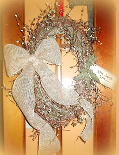 "Gorgeous Prim Wreath with Green and Cream Pip Berries and Burlap Bow with Prim Tag. 30"" $39.99 http://www.primitivehomedecorandmore.com/"