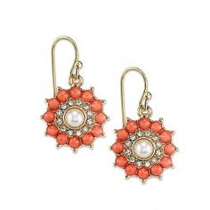 2028 Gold-Tone Coral Color Crystal Drop Earrings