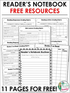 Get help setting up and maintaining your readers' notebooks with these freebies… Readers Workshop Notebook, Reading Response Notebook, Reading Notebooks, Reading Workshop, Notebook Ideas, Reading Lessons, Teaching Reading, Guided Reading, Reading Strategies
