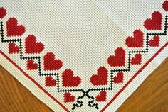 """Very well done vintage handmade crossstitch design embroidery tablet table-cloth with red/ black conventionalized heart pattern frame on creame light yellow cotton Aida fabric bottomcolor. SIze: * 11 """"/ inch or 27 * 28 cm. Cross Stitch Sampler Patterns, Cross Stitch Samplers, Cross Stitch Designs, Cross Stitching, Cross Stitch Embroidery, Hand Embroidery, Cross Stitch Boards, Cross Stitch Heart, Palestinian Embroidery"""
