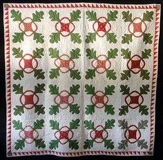 Antique 1860 Red & Green Oak Leaf and Reel Quilt