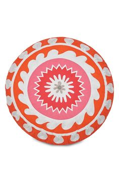 So cute and comfy! This chic, round pillow can give a playful pop of color to any interior.
