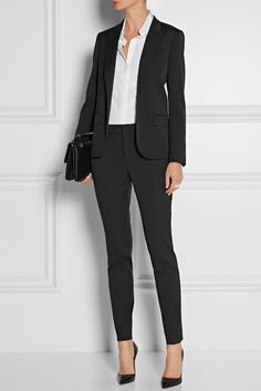 Black stretch wool-blend Button fastening at front 94% wool, 4% silk, 2% elastane; lining: 67% acetate, 33% polyester Dry clean