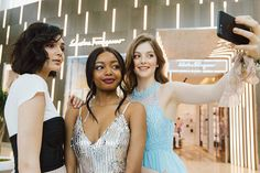 From left to right: Top from H&M, Bustier from Mendocino, Skirt from Honey; Dress from Marla's, Earrings from Mendocino; Dress from Le Chateau, Earrings from Kate Spade New York. Blue Dresses, Prom Dresses, Silver Dress, Ladies Dress Design, First Night, Classic Style, Hair Makeup, Kate Spade