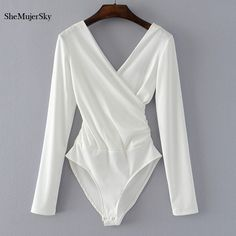 Cheap monos cortos de mujer, Buy Quality sleeve bodysuit directly from China jumpsuit black Suppliers: SheMujerSky Long Sleeve Bodysuit Women Backless Jumpsuits Black White Body femme monos cortos de mujer 2017 High Cut Bodysuit, Ribbed Bodysuit, White Bodysuit, Black Long Sleeve Bodysuit, Pullover Shirt, Backless Jumpsuit, Backless Bodysuit, Black Jumpsuit, Body Suit Outfits