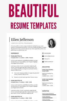 When it comes to your resume, a beautiful resume layout helps you present your education, experience, and skills in an organized manner. Resume Template Examples, Resume Template Free, Creative Resume Templates, Resume Ideas, Resume Layout, Job Resume, Resume Design, Fashion Resume, Unique Resume