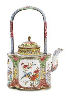 A Canton enamel ewer and cover, Qianlong period, 18th century