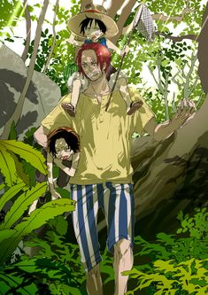 Shanks with Luffy and Ace. One piece