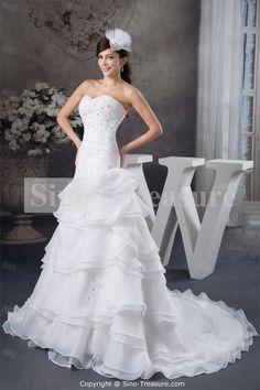 White Sweetheart Chapel Train Satin Corset-back Sweetheart Wedding Dress