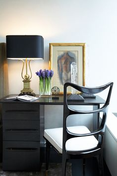 hgtv office design. Additions To This Bedside Workspace. Artwork Leaned Against The Wall And An Elegantly Crafted Lamp Provide Simple Inspiration. Design By David Scott. Hgtv Office