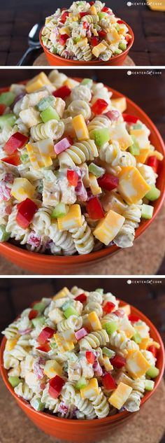 CREAMY CHEDDAR PASTA SALAD with a simple dressing is a fantastic side dish for a summer BBQ! It's versatile too - add in broccoli or any other veggies that you'd like!