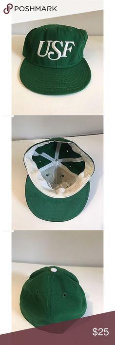 VTG USF South Florida Bulls Baseball Cap Hat VTG USF South Florida Bulls Baseball Cap Hat Fitted 7 New Era Green New Era Accessories Hats