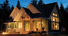 Timber Frame House Plan of Linwood Custom Homes Elevation - I don't like the exterior color but love the house Custom Home Plans, Custom Home Builders, Custom Homes, Timber Frame Homes, Timber House, Lake House Plans, House Floor Plans, Cabin Plans, Linwood Homes