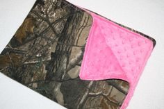 Camo and  pink stroller baby blanket (27 x 21)- hot pink minky dot and realtree camo camouflage baby girl blankey