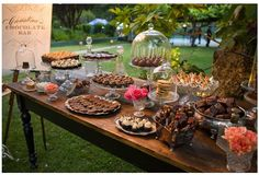 dessert buffet-I like the different serving pieces and variety of treats!