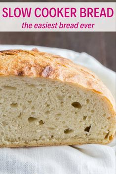"yumyummyyums: ""Homemade Slow Cooker Bread is always much more delicious than store-bought, and this recipe couldn't be easier. This simple white bread is easy to make and uses ingredients you probably. Crock Pot Brot, Crock Pot Slow Cooker, Bread In Slow Cooker, Slow Cooker Fudge, Slow Cooker Recipes Dessert, Crock Pots, Dessert Recipes, Desserts, Bread Machine Recipes"