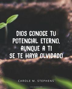 Aun cuando nosotros olvidamos nuestro potencial eterno, Dios no lo olvida. -Carole M. Stephens