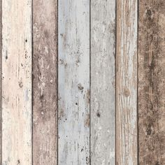 WASHROOM: Grey - 8550-39 - Realistic Distressed Wood Panel - New England - A.S. Creation Wallpaper