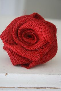 roses out of burlap  --- gv note: dye your room divider panels this deep vermillion color...