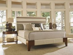 Shop for Tommy Bahama Home Mandarin Upholstered Panel Bed, King, and other Bedroom Panel/Wall Beds at Goods Home Furnishings in North Carolina. Thrift Store Furniture, Refurbished Furniture, Bedroom Furniture, Furniture Sets, Furniture Layout, Lexington Home, King Bedroom Sets, Master Bedroom, Wood Beds