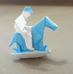 Boy on a rocking horse by Neal Elias  Diagrams in Neal Elias 1964-1973  folded from a square of origami paper