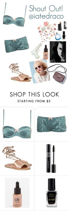 """""""SHOUT OUT! @iatedraco"""" by elliewriter ❤ liked on Polyvore featuring Ancient Greek Sandals, Christian Dior, Arbonne, Topshop, Barry M and Hermès"""