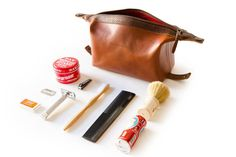 Our Dopp Kit is a perfect home for your toiletries while on the road. We used a vegetable tanned leather and an easy to clean liner in the event of any toothpas Travel Bag Essentials, Mens Fashion Blog, Men's Fashion, Dopp Kit, Travel Kits, Toiletry Bag, Leather Craft, Watches For Men, Bags