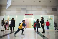 Art Music interactive Package is installed in National Science Museum Hall. It can attract your gaze by using the wall of exhibition hall. Pinwheel perform with the reaction according to the movement of a person using the sensor depending on the distance and position of the person. And the music make a harmony with LED drum and stringless harp.