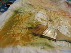 Surface design tutorial with flour paste (resist dyed cloth).  Tutorial with Jane DeFazio