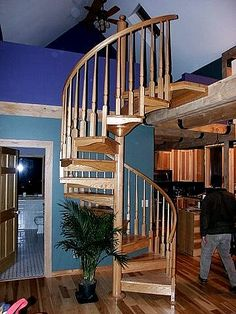 spiral stairs in all the same colour wood Winding Staircase, Staircase Ideas, Spiral Staircases, Story House, My House, Stairs To Heaven, Stair Case, Cottage Plan, Earth Homes