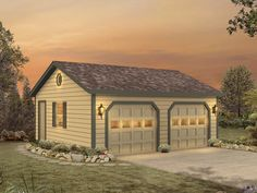 See the Halima Two-Car Garage from House Plans and More and learn all of the details you need to easily purchase and build Plan Two Car Garage, Garage Plans, Garage Ideas, Garage Doors, Home Improvement Projects, Home Projects, Wooden Storage Sheds, Carriage House Plans, Small Fireplace