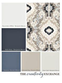 Choosing a Paint Color Palette Using Fabric Inspiration. Tips for picking a paint color palette using fabric inspiration. living room lighting Look Inside Plaid. Paint Color Palettes, Silver Color Palette, Modern Color Palette, Interior Paint Colors, Paint Colours, Office Paint Colors, Blue Gray Paint Colors, Neutral Colors, Light Colors
