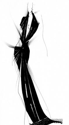 Black and white dress drawings.