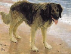 Man's best friend, 1908 by Ilya Repin. Realism. animal painting. Private Collection
