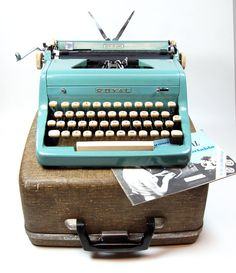 1950 Teal Blue Green Royal PROFESSIONALLY SERVICED Typewriter with Case Instuction Booklet on Etsy, $400.00