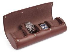 Travel and storage Watch Case for 4 Watches, made from top-quality brown leather. This swiss-design watch box provides excellent protection for precious watches. Natural Leather, Brown Leather, Watch Storage, Leather Watch Box, Swiss Design, Watch Case, Luxury Watches, Leather Craft, Rolls