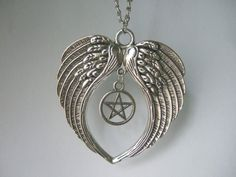 Supernatural Large Guardian Angel Wings Feathers Pentagram Pendant Necklace 20""