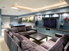 Furniture - Elegant Contemporary Basement Design Idea With Grey Velvet Sofas And Darkwood Coffee Table Add With Storage And Mounted Wall TV Stand: Amazing Big Sofas Design Ideas For Your Wide Rooms