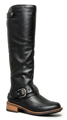 Knee High Riding Boot - Vegan Leather Pull On - Relaxed Fit Stacked Heel Boot –Comfortable Walking Qupid Shoe *** More info could be found at the image url. (This is an affiliate link and I receive a commission for the sales)