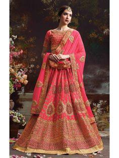 Mesmerizing Pink Brocade Online Designer Lehenga Choli