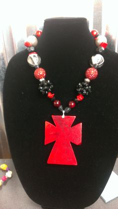 Black and Red chunky Necklace with Cross Pendant