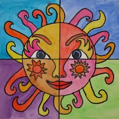 4 part sun art Artists For Kids, Art For Kids, Drawing Sheet, Black Construction Paper, Warm And Cool Colors, 5th Grade Art, Ecole Art, Sun Art, Mexican Art