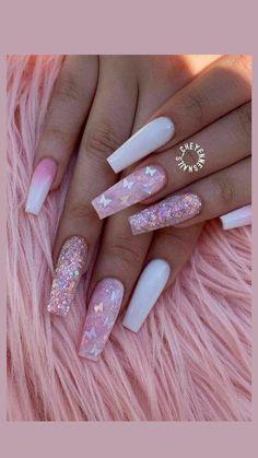 Acrylic Nails Coffin Pink, Long Square Acrylic Nails, Pink Glitter Nails, Summer Acrylic Nails, Pastel Nails, Summer Nails, Classy Acrylic Nails, Cute Pink Nails, Lilac Nails