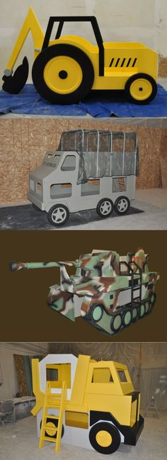 A backhoe, an army truck, a tank, and a cement digger. All beds we've made for eager little kids who love big vehicles! We have the perfect single or bunk beds for any boy or girl with a vehicle obsession! We also have more typical cars and trucks, and love to do custom designs. If your child can dream it up, we can build it for them! Click to see our full line of vehicle beds!