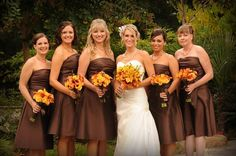 Fall Wedding Colors Bridesmaid Dresses | ... dresses with orange colored bouquets the bridesmaid bouquets had calla
