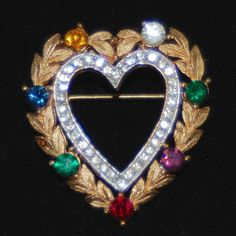 Lovely Vintage CROWN TRIFARI Heart Within A Heart Brooch In Antique Gold Tone With Clear & Multi Color Rhinestones
