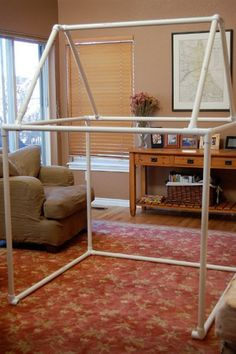 Think extra large tinker toys. This collapsible indoor playhouse  will provide hours of fun! All you need is PVC pipe and fabric to sew together the covering of the playhouse. Pretty cool!