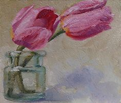 Two Tulips by Heather Dawn Kemp Oil ~ 3 x 4 in